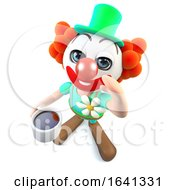 Poster, Art Print Of 3d Funny Cartoon Crazy Clown Character Drinking A Cup Of Coffee