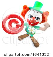 3d Funny Cartoon Crazy Clown Character Holding A Copyright Symbol