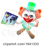 3d Funny Cartoon Crazy Clown Character Paying With A Credit Card