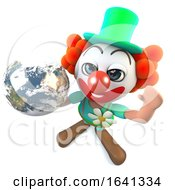 3d Funny Cartoon Crazy Clown Character Holding A Globe Of The Earth