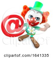 3d Funny Cartoon Crazy Clown Character Holding An Email Address Symbol