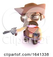 3d Funny Cartoon Cowboy Pointing His Gun Ready To Shoot
