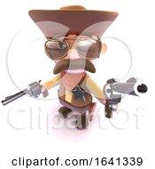 3d Funny Cartoon Cowboy Aiming His Gun At You