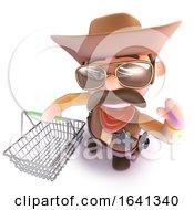 3d Funny Cartoon Cowboy Sheriff Carrying A Shopping Basket