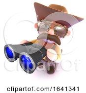3d Funny Cartoon Cowboy Looking Through Binoculars