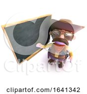 3d Funny Cartoon Cowboy Pointing At The Blackboard