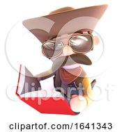 3d Funny Cartoon Cowboy Sheriff Character Reading A Book