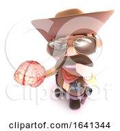 3d Funny Cartoon Cowboy Sheriff Character Holding A Human Brain