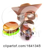 3d Funny Cartoon Cowboy Holding A Cheese Burger