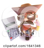 3d Funny Cartoon Cowboy Holding A Digital Calculator