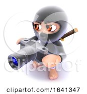 3d Funny Cartoon Ninja Assassin Taking A Photo With A Camera