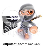 3d Funny Cartoon Ninja Assassin Warrior Character Holding A Movie Makers Clapperboard