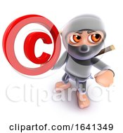3d Funny Cartoon Ninja Assassin Warrior Character Holding A Copyright Symbol