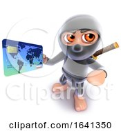 3d Funny Cartoon Ninja Assassin Warrior Character Paying With A Debit Card