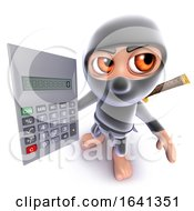 3d Funny Cartoon Ninja Assassin Warrior Character Holding A Calculator