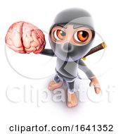 3d Funny Cartoon Ninja Assassin Warrior Holding A Human Brain