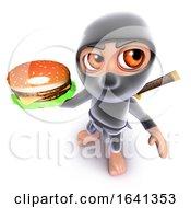 Poster, Art Print Of 3d Funny Cartoon Ninja Assassin Warrior Character Holding A Cheeseburger Snack