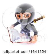 3d Funny Cartoon Ninja Assassin Reading A Book
