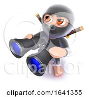 3d Funny Cartoon Ninja Assasin Looking Through Binoculars
