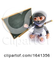 3d Funny Cartoon Ninja Assassin Standing At A Blackboard