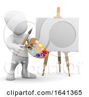 3d Little Man Is An Artist With An Easel