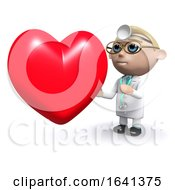 3d Doctor Next To A Heart