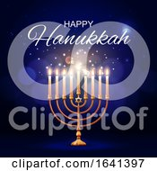 Happy Hanukkah Greeting Over A Menorah by Vector Tradition SM