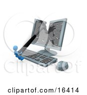 Frustrated Blue Person Smashing A Flat Screen Computer Monitor With A Hammer Clipart Illustration Graphic by 3poD