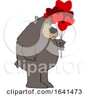 Poster, Art Print Of Cartoon Brown Bear Holding Valentine Balloons