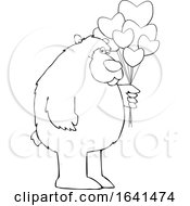 Poster, Art Print Of Cartoon Black And White Bear Holding Valentine Balloons