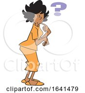 Cartoon Forgetful Black Woman With A Question Mark