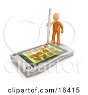 Orange Person Holding A Pen And Scheduling An Appointment On His White Palm Pilot While Standing On It Clipart Illustration Graphic