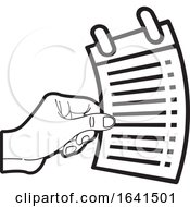 Black And White Hand Holding A List