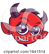Cute Smiling Red Devil Face