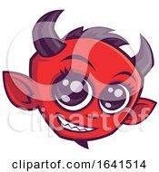 Cute Smiling Red Devil Face by John Schwegel #COLLC1641514-0127
