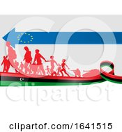 Silhouetted Immigrants On A Libian Flag Under A European Flag Arrow