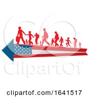 Silhouetted Immigrants On An American Flag Arrow