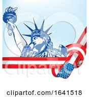 Statue Of Liberty And American Flag Ribbon