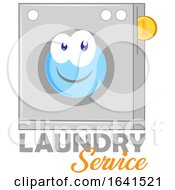 Happy Laundry Service Washing Machine Mascot With Text