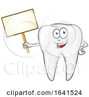 Cartoon Tooth Character Holding A Sign Board