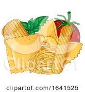 Cartoon Basil Tomato And Pasta
