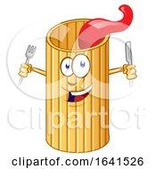Cartoon Rigatone Pasta Character With Silverware by Domenico Condello