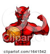 Devil Basketball Sports Mascot Holding Ball by AtStockIllustration