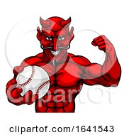 Devil Baseball Sports Mascot Holding Ball by AtStockIllustration