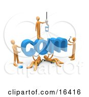 Team Of Orange People Constructing The Word Com Symbolizing A Website Under Construction Clipart Illustration Graphic