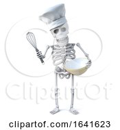 3d Skeleton Chef Mixes A Cake In His Bowl With His Whisk