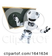 3d Funny Cartoon Mechanical Robot Character Standing In Front Of A Blackboard