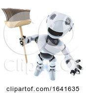 3d Cartoon Robot Man Holding A Broom