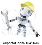 3d Funny Cartoon Robot Character Holding A Spanner And Wearing A Hard Hat