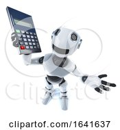 3d Cool Robot Mechanical Man Holding A Calculator
